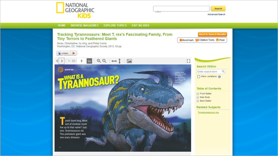 National Geographic Virtual Library ja Kids